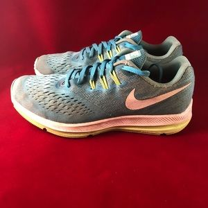 Nike Zoom Winflo 4 Blue Athletic Running Shoes 9